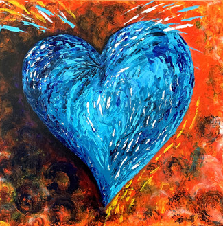 Heart - blue on orange