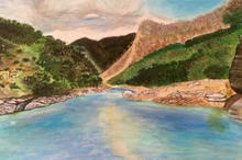 My first ever painting - Rishikesh, India