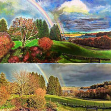 the top is an acrylic painting of the photo below it