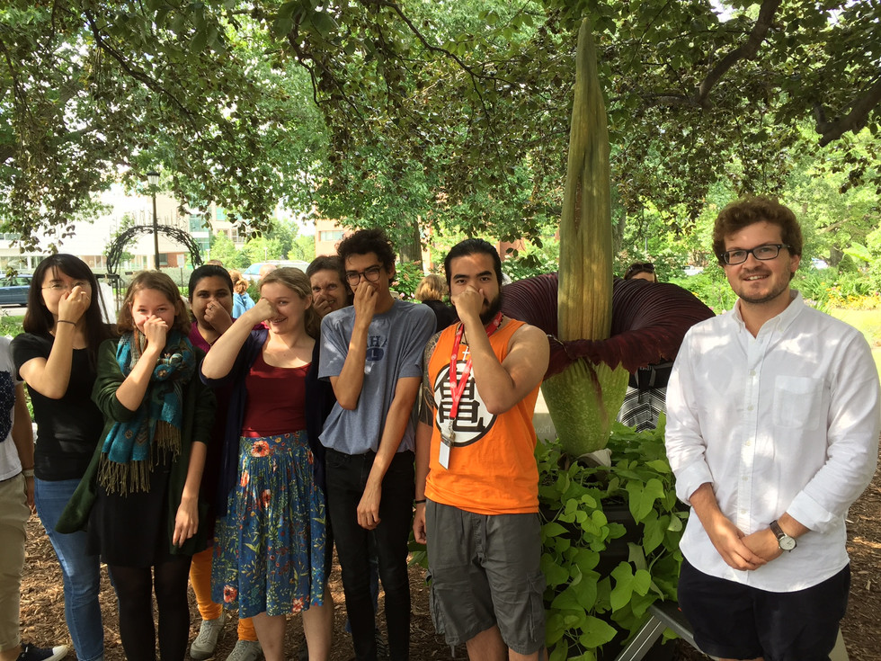 Wolfner lab group photo in summer 2017 in front of a blooming corpse flower (titan arum). Most lab members are covering their noses.