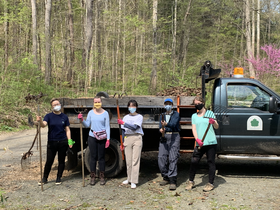 Five lab members standing in front of a truck and holding rakes after volunteering in Robert H. Treman State Park on I love My Parks Day 2021.