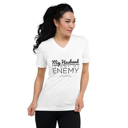 My Husband Is Not My Enemy White Short Sleeve V-Neck T-Shirt