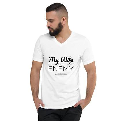 My Wife Is Not My Enemy Mens Short Sleeve V-Neck T-Shirt
