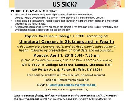 Free screening of UNNATURAL CAUSES: Monday APRIL 1, 5pm