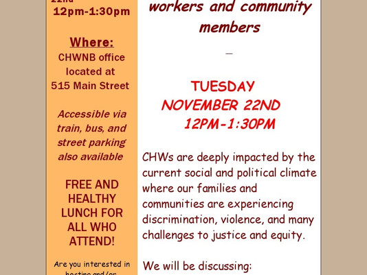 November Chew & Chat: CHWs as Organizers and Healers