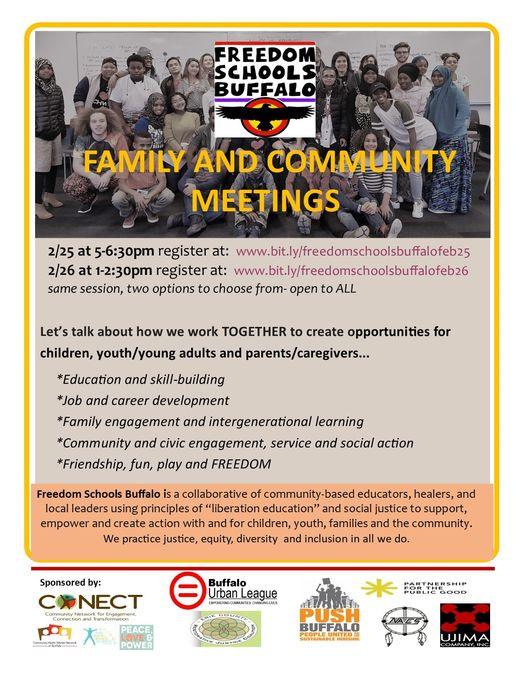 Freedom Schools Buffalo upcoming Family and Community Meetings