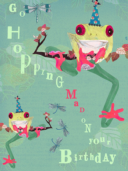 FROGS GO HOPPING MAD ON YOUR BIRTHDAY GREETING CARD