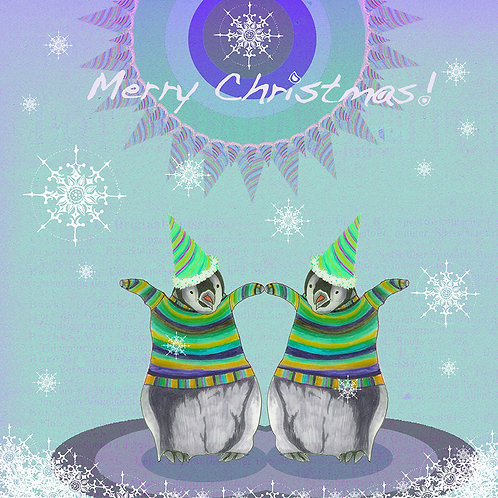 MERRY CHRISTMAS PENGUINS IN JUMPERS