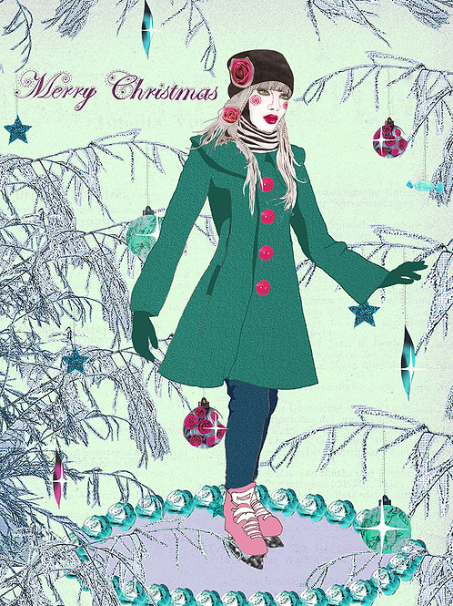 MERRY CHRISTMAS ICE SKATING GREETING CARD