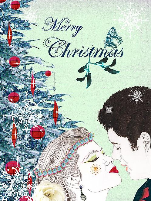 MERRY CHRISTMAS MISTLETOE KISSING GREETING CARD