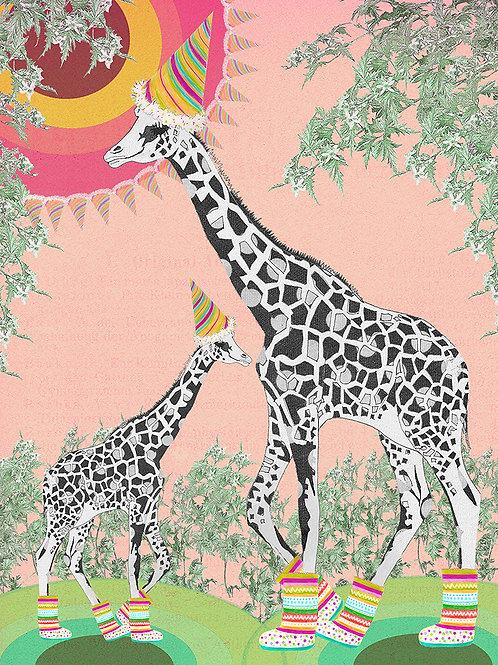 MUM AND BABY GIRAFFE GREETING CARD