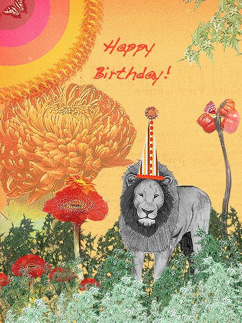 LION BIRTHDAY GREETING CARD
