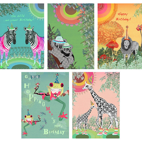 PARTY ANIMALS ASSORTED GREETING CARD PACK
