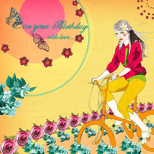 ...ON YOUR BIRTHDAY WITH LOVE...GIRL ON BIKE GREETING CARD