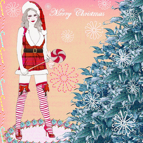 MERRY CHRISTMAS MRS CLAUS LOLLIPOP GREETING CARD