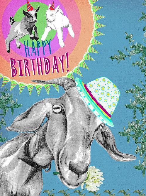 HAPPY BIRTHDAY GOAT GREETING CARD