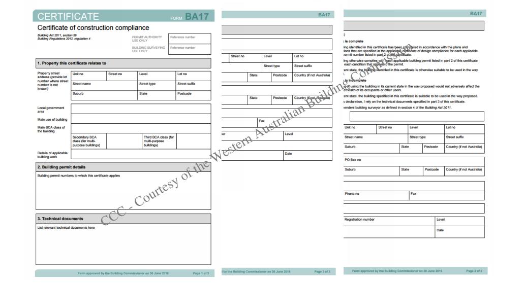 Construction compliance Certificate