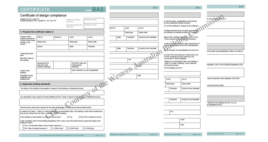 Certificate of design compliance
