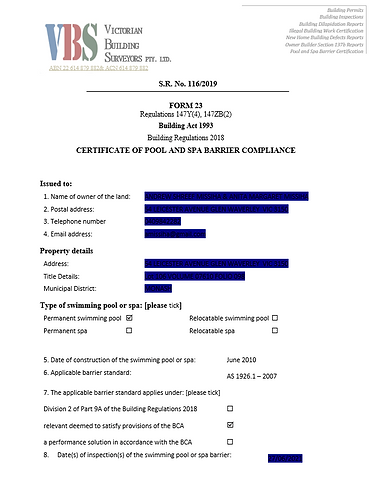 Form 23 Certificate of compliance.PNG
