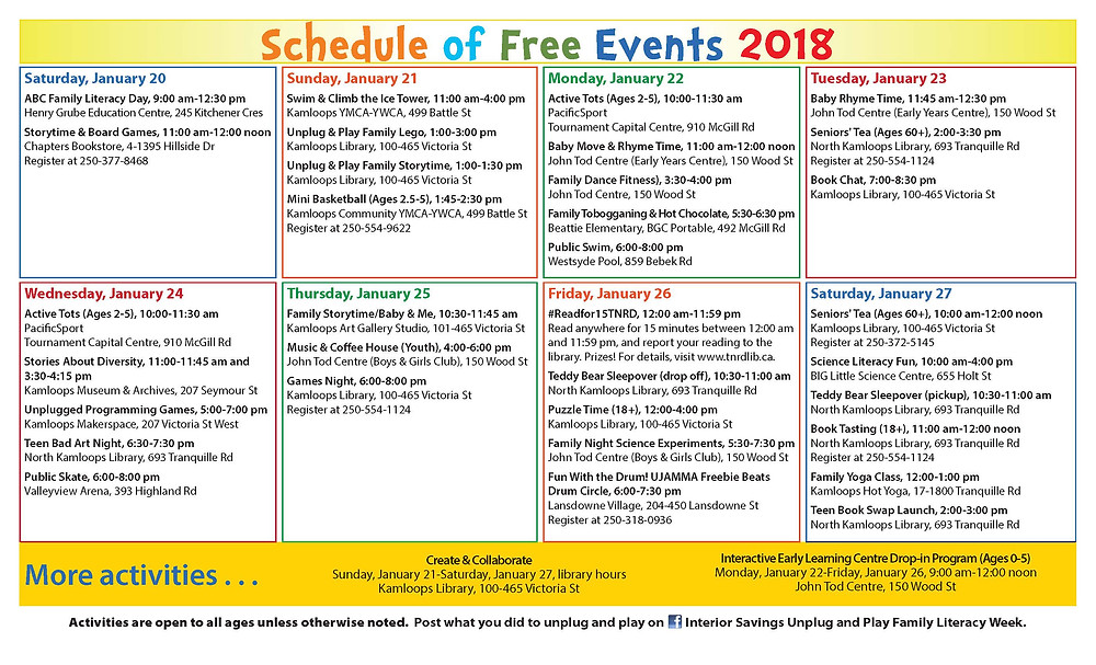 Unplug and Play Schedule