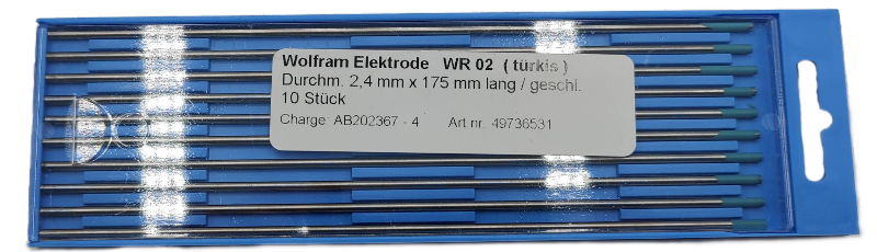 WIG Wolframelektroden, WR-2, türkis