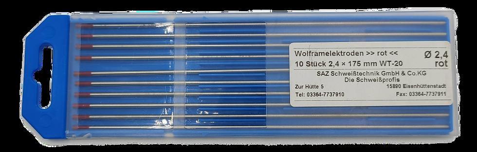 WIG Wolframelektroden, WT-20, rot