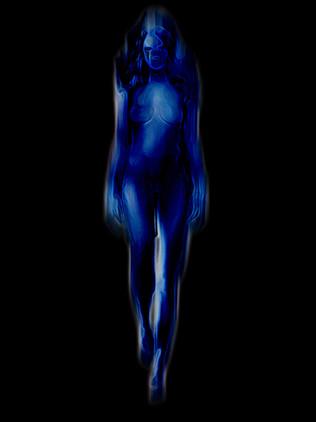 Figura azzurra ambiente nero