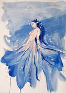Figura di donna e fiori, ritratto personalizzato