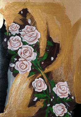 Rose Rosa, dipinto personalizzato, foglia d'oro