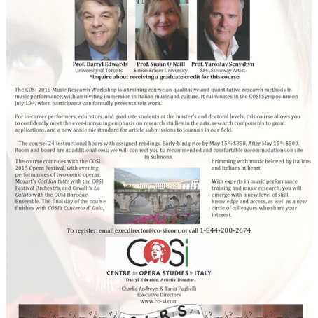 Music Research Workshop & Symposium: July 13-19, COSI 2015.
