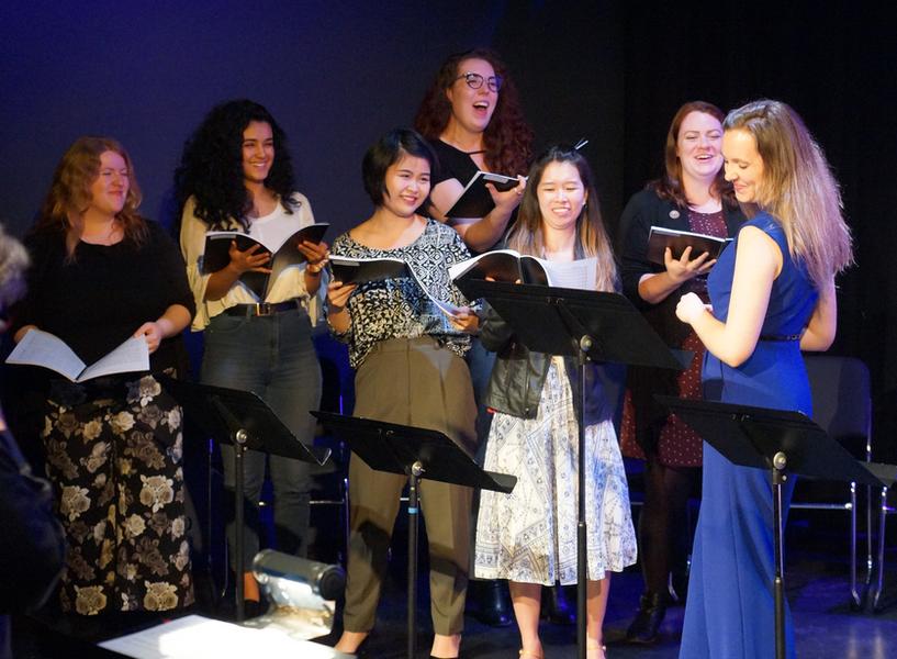 Venere with Magazine Executives. LtoR: Christina Labriola, Nathania-Rose Chan, Grace ChuYü Liang, Mikayla Stradiotto, Sarah Leung, Maureen Ferguson, Emma Mansell.