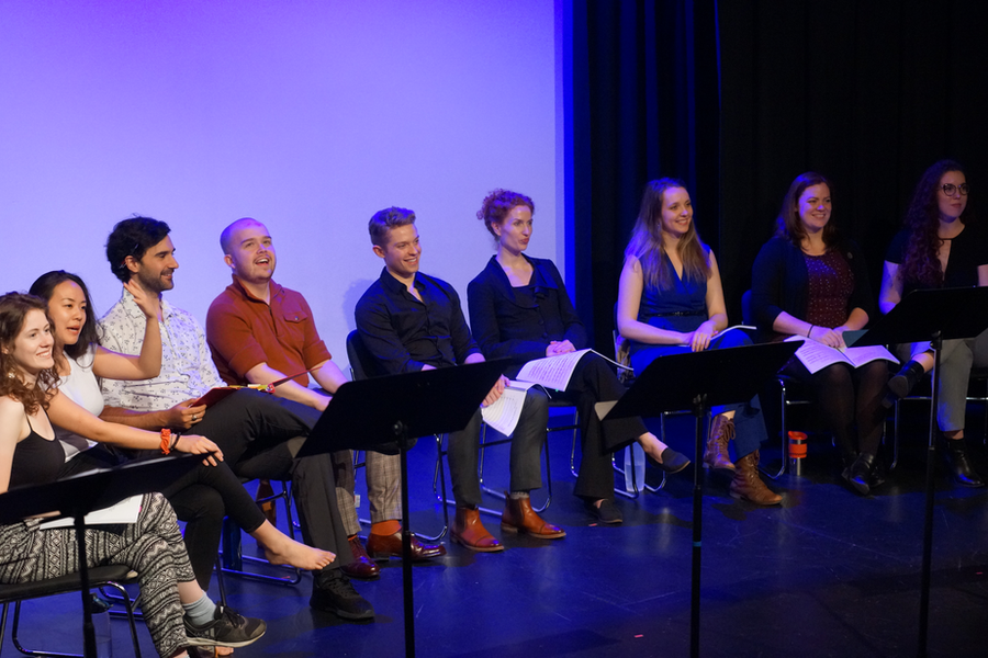 Cast at the end-of-workshop Q&A/Feedback with the Composer