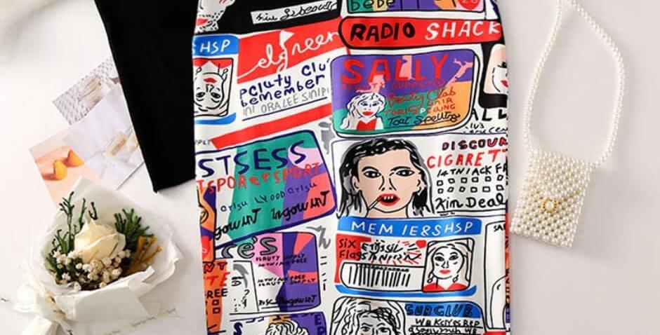 Cartoon High Waist Bodycon Sexy Pencil Skirt