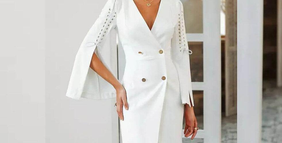 Elegant Lace Up Split Dress/Coat
