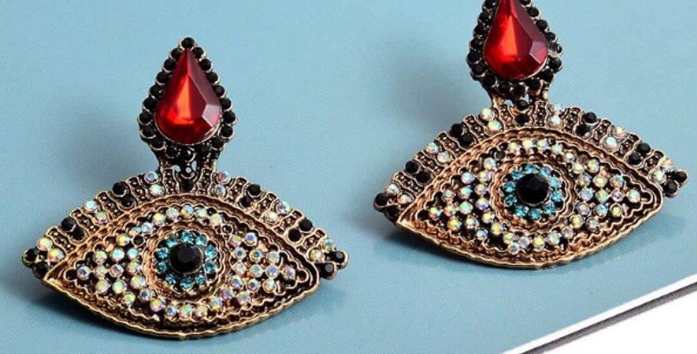 Colorful Rhinestone Metal Eye Shaped Earrings