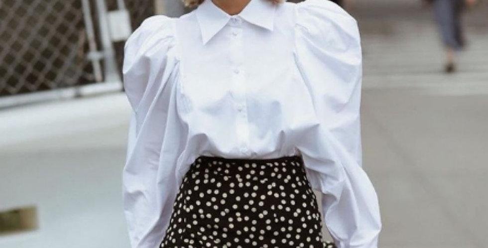 White Puff Sleeve Collar Shirt