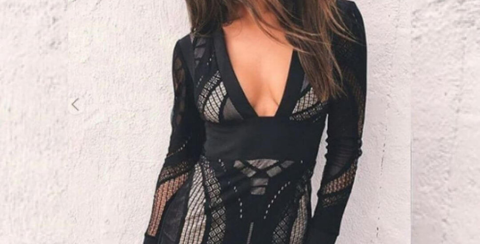 High Waist Lace Long Sleeve Dress
