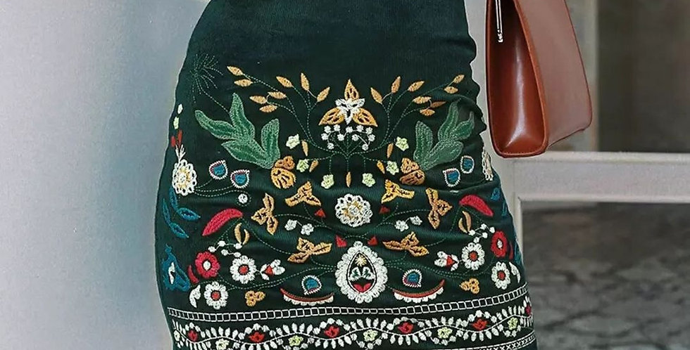 Vintage Embroidery High Waist Skirt