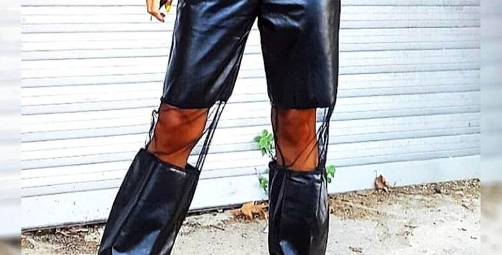 Stylish Faux PU Leather Elastic Jogger Pant