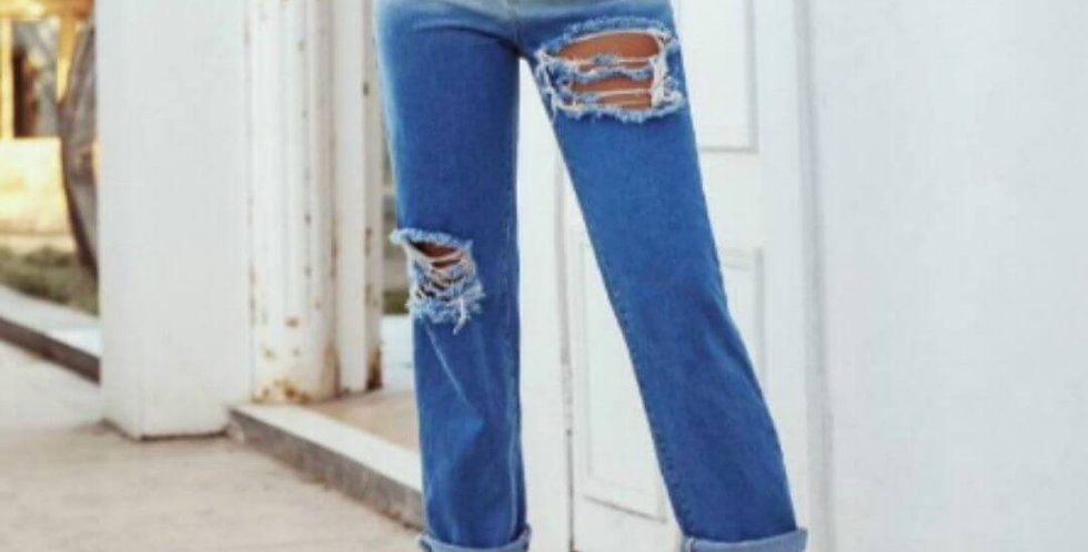 Panelled Distressed Sexy Streetwear Jeans