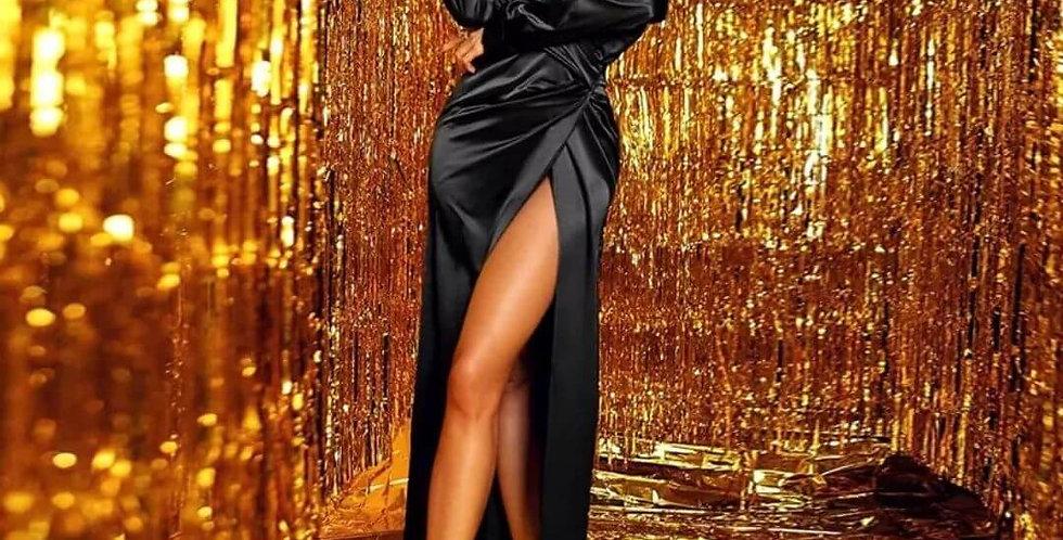 Elegant Satin Fashion Split Maxi Dress