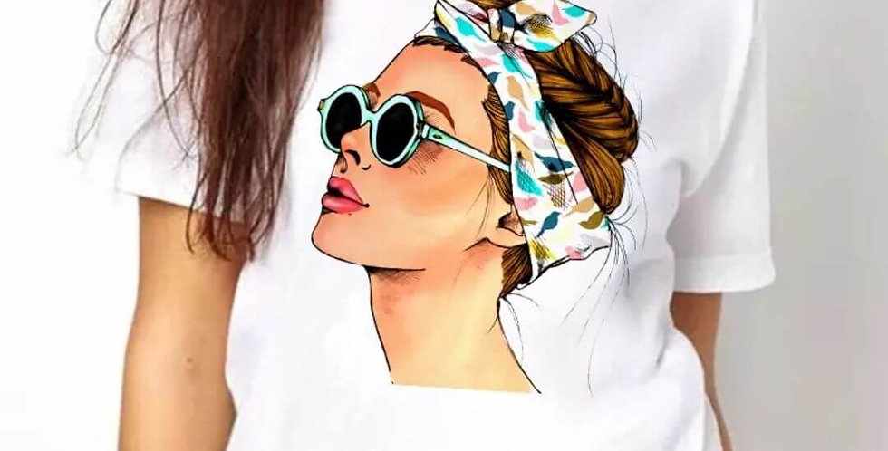 Vogue Print Lady Casual T-Shirt