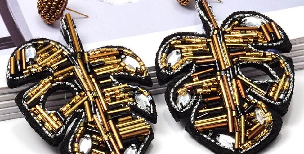 Golden Leaf-shaped Handmade Earrings
