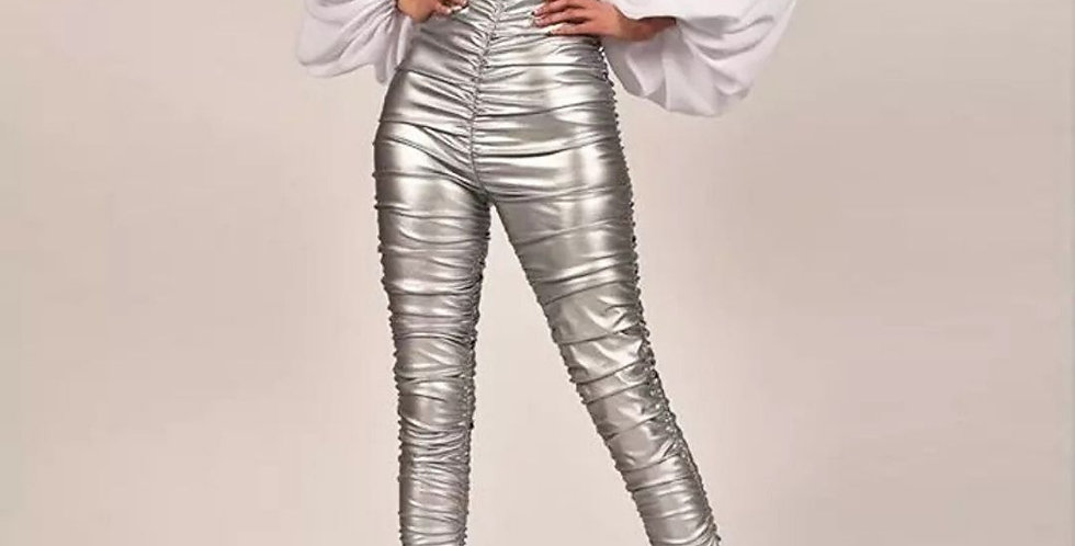 Faux Leather Fold Skinny Pant