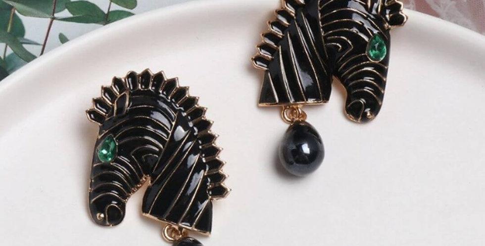 Statement Animal Trendy Enamel Zebra Earrings