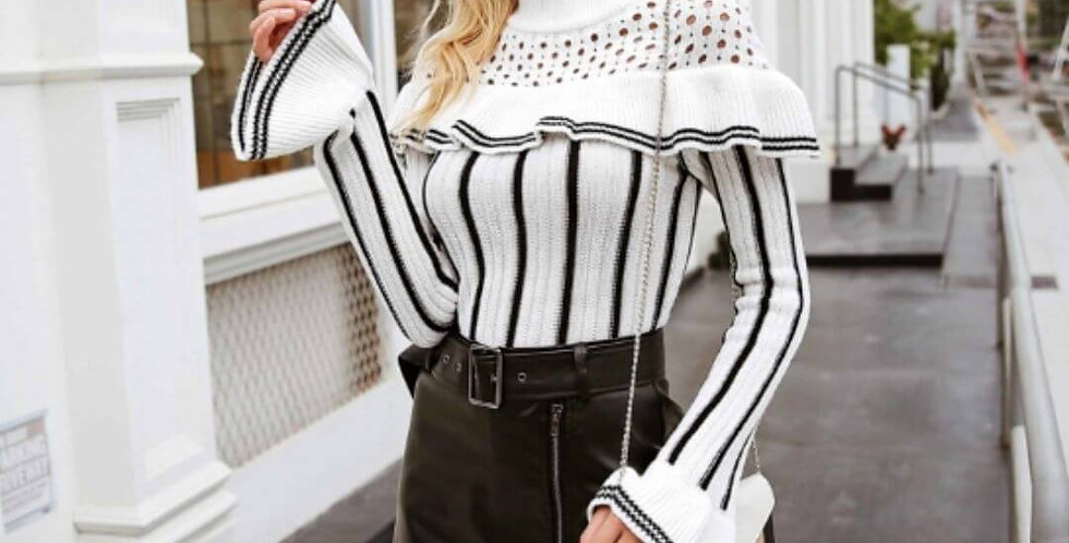 Hollow Out Ruffles Sweater