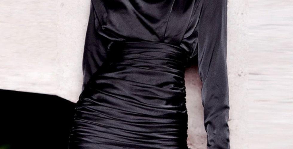 Black Ruched Wrap Mini Dress