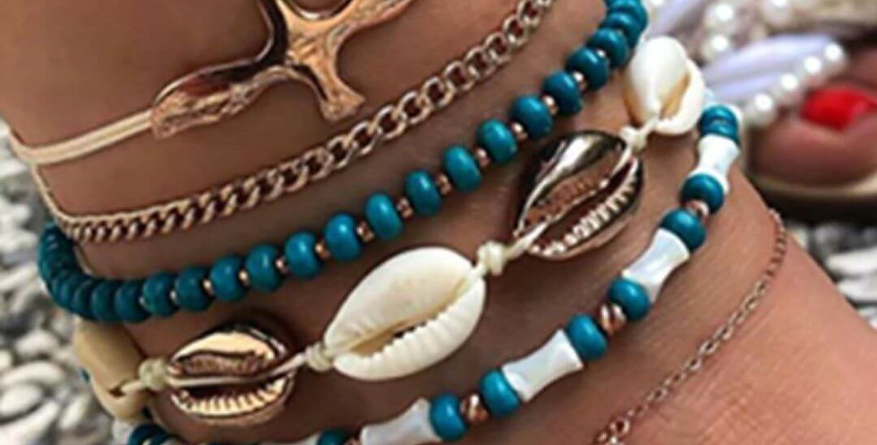 Vintage Stone Beads Shell Anklet Bracelet Foot Jewelry