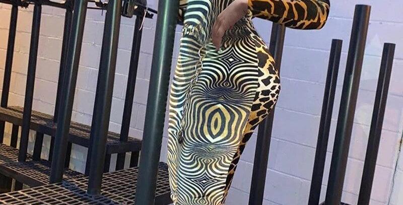 Elegant Leopard Printed Patchwork Turtleneck Dress