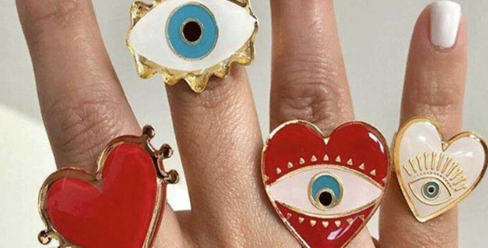 Adjustable Gold Red Heart Evil Eye Fashion Rings